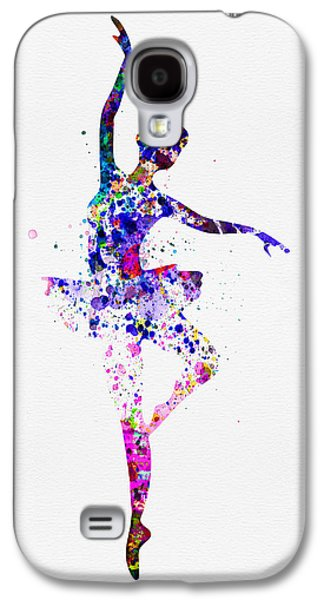 Young Mixed Media Galaxy S4 Cases -  Ballerina Dancing Watercolor 2 Galaxy S4 Case by Naxart Studio