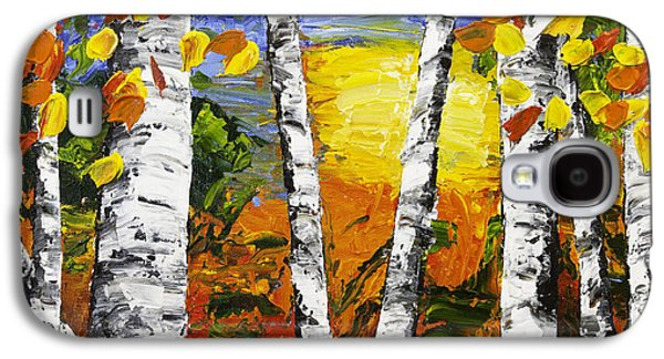 Woodlands Scene Paintings Galaxy S4 Cases -  Birch Trees In Fall Pallete Knife Painting Galaxy S4 Case by Keith Webber Jr