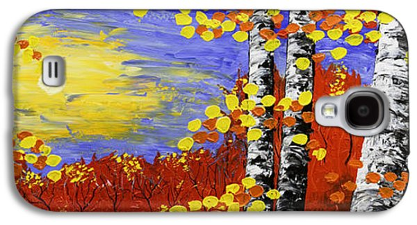 Woodlands Scene Paintings Galaxy S4 Cases -  Birch Trees In Fall Panorama Painting Galaxy S4 Case by Keith Webber Jr