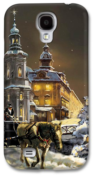 Architecture Acrylic Prints Galaxy S4 Cases -  Buggy and horse at Christmasn the Ukraine Galaxy S4 Case by Gina Femrite