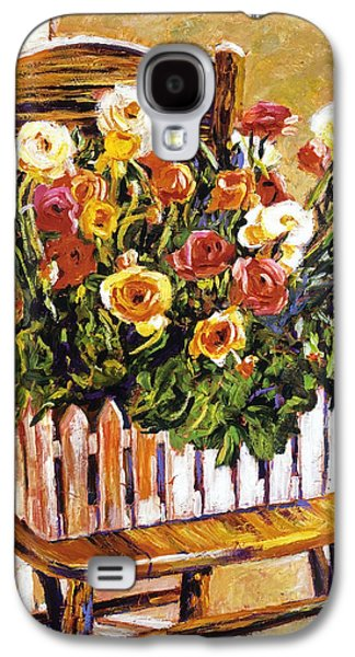 Interior Still Life Paintings Galaxy S4 Cases -  Chair Of Flowers Galaxy S4 Case by David Lloyd Glover
