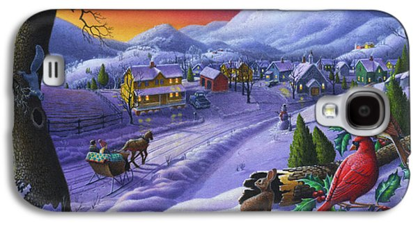 Snow Scenes Galaxy S4 Cases -  Christmas Sleigh Ride Winter Landscape Oil Painting - Cardinals Country Farm - Small Town Folk Art Galaxy S4 Case by Walt Curlee