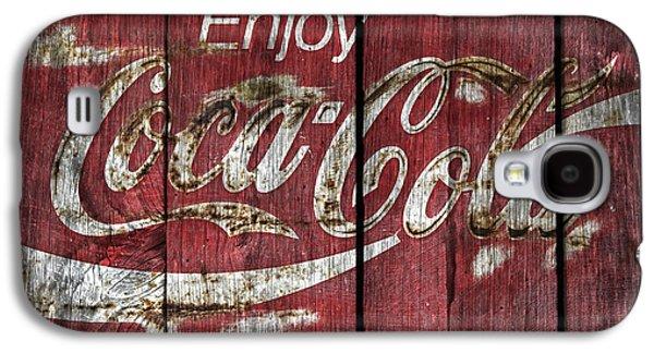 Coca-cola Signs Galaxy S4 Cases -  Coca Cola Sign Barn Wood Galaxy S4 Case by John Stephens