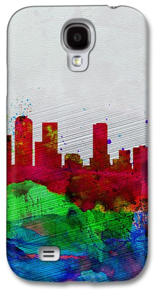 Capital Galaxy S4 Cases -  Denver Watercolor Skyline Galaxy S4 Case by Naxart Studio