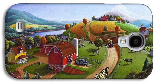 Farming Galaxy S4 Cases -  Folk Art Blackberry Patch Rural Country Farm Landscape Painting - Blackberries Rustic Americana Galaxy S4 Case by Walt Curlee