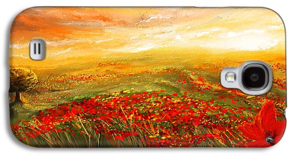 Tuscan Sunset Paintings Galaxy S4 Cases -  Glowing Rhapsody - Poppies Impressionist Paintings Galaxy S4 Case by Lourry Legarde