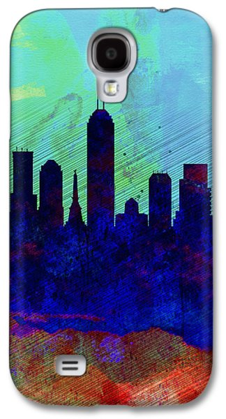 Architectural Digital Art Galaxy S4 Cases -  IIndianapolis Watercolor Skyline Galaxy S4 Case by Naxart Studio