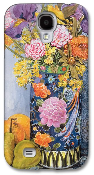 Iris And Pinks In A Japanese Vase With Pears Galaxy S4 Case by Joan Thewsey