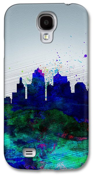 Architectural Digital Art Galaxy S4 Cases -  Kansas City Watercolor Skyline Galaxy S4 Case by Naxart Studio