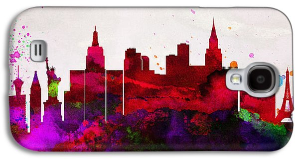 Las Vegas Galaxy S4 Cases -  Las Vegas City Skyline Galaxy S4 Case by Naxart Studio