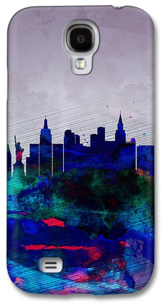 Las Vegas Galaxy S4 Cases -  Las Vegas Watercolor Skyline Galaxy S4 Case by Naxart Studio