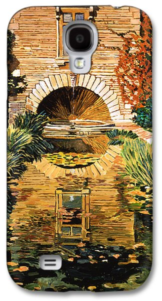 Pathway Paintings Galaxy S4 Cases -  Lily Pond And Fountain Galaxy S4 Case by David Lloyd Glover