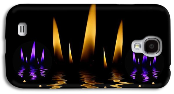 Contemplative Mixed Media Galaxy S4 Cases -  Lotus On Fire In The dark Night Galaxy S4 Case by Pepita Selles