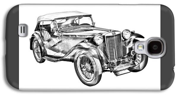 Black Top Digital Art Galaxy S4 Cases -  Mg Tc Antique Car Illustration Galaxy S4 Case by Keith Webber Jr