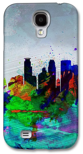 Capital Galaxy S4 Cases -  Minneapolis Watercolor Skyline Galaxy S4 Case by Naxart Studio