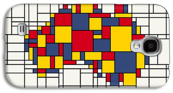 Abstract Canvas Galaxy S4 Cases -  Mondrian inspired Australia Map Galaxy S4 Case by Michael Tompsett