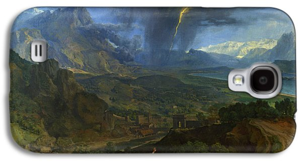 Landscape With Mountains Galaxy S4 Cases -  Mountain Landscape with Lightning Galaxy S4 Case by Francisque Millet