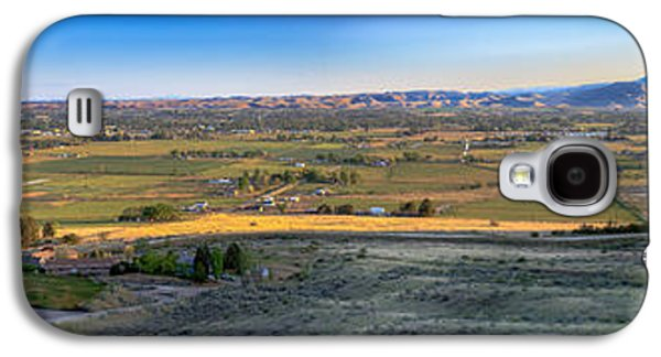 Haybale Galaxy S4 Cases -  Panoramic Emmett Valley Galaxy S4 Case by Robert Bales