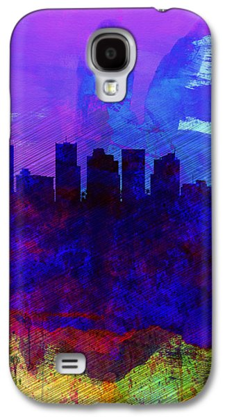 Extinct And Mythical Digital Art Galaxy S4 Cases -  Phoenix Watercolor Skyline 1 Galaxy S4 Case by Naxart Studio