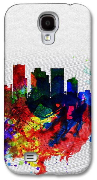 Extinct And Mythical Digital Art Galaxy S4 Cases -  Phoenix Watercolor Skyline 2 Galaxy S4 Case by Naxart Studio
