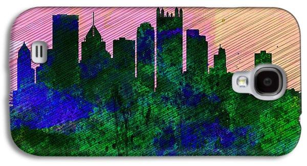 Pittsburgh Galaxy S4 Cases -  Pittsburgh City Skyline Galaxy S4 Case by Naxart Studio