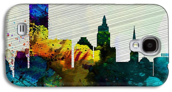 Architectural Paintings Galaxy S4 Cases -  Providence City Skyline Galaxy S4 Case by Naxart Studio