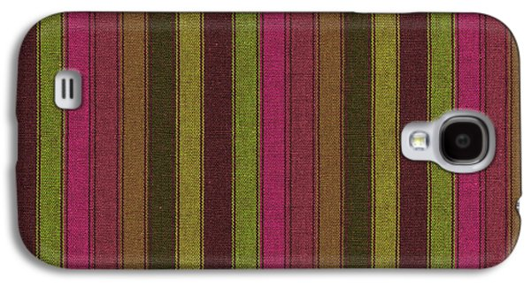 Textured Digital Art Galaxy S4 Cases -  Purple And Green Striped Textile Background Galaxy S4 Case by Keith Webber Jr