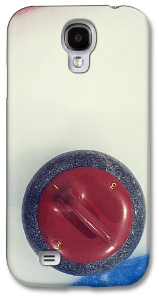 Sports Photographs Galaxy S4 Cases -  Red Curling Stone Galaxy S4 Case by Priska Wettstein