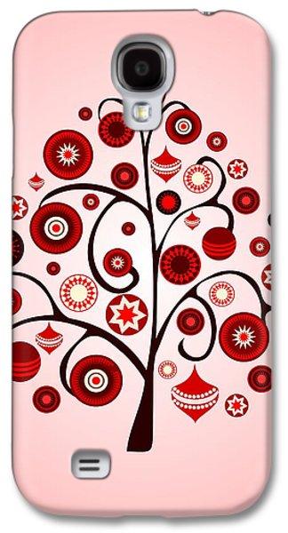 Graphic Galaxy S4 Cases -  Red Ornaments Galaxy S4 Case by Anastasiya Malakhova