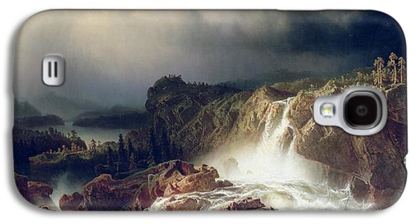 Storms Paintings Galaxy S4 Cases -  Rocky Landscape with Waterfall in Smaland Galaxy S4 Case by Marcus Larson