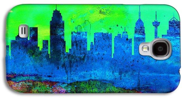 Architectural Paintings Galaxy S4 Cases -  San Antonio City Skyline Galaxy S4 Case by Naxart Studio