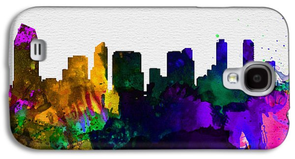 Architectural Paintings Galaxy S4 Cases -  San Diego City Skyline Galaxy S4 Case by Naxart Studio