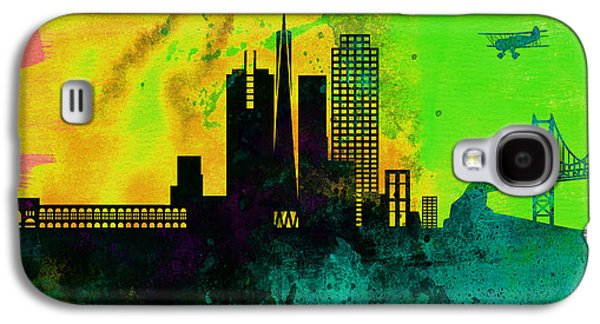 Usa Paintings Galaxy S4 Cases -  San Francisco City Skyline Galaxy S4 Case by Naxart Studio