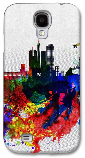 Downtown San Francisco Galaxy S4 Cases -  San Francisco Watercolor Skyline 1 Galaxy S4 Case by Naxart Studio