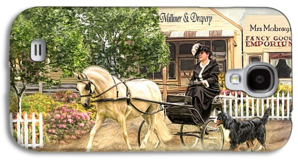 Horse And Cart Digital Art Galaxy S4 Cases -  Shopping Day Galaxy S4 Case by Trudi Simmonds
