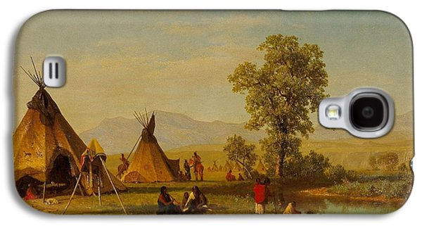 Snow Scene Landscape Paintings Galaxy S4 Cases -  	Sioux Village near Fort Laramie Galaxy S4 Case by Albert Bierstadt