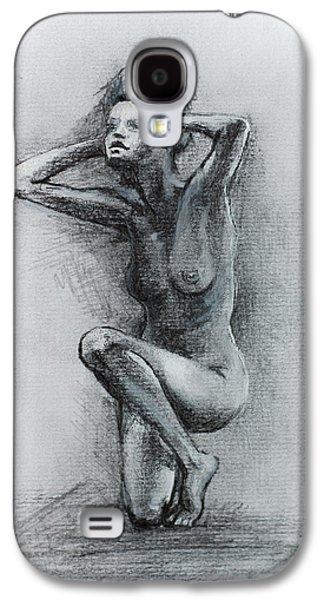 Figures Mixed Media Galaxy S4 Cases -  Sketch Of Nude Woman Galaxy S4 Case by Dorina  Costras