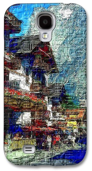 Switzerland Mixed Media Galaxy S4 Cases -  Stroll Down an Alpine Village Galaxy S4 Case by Mario Carini