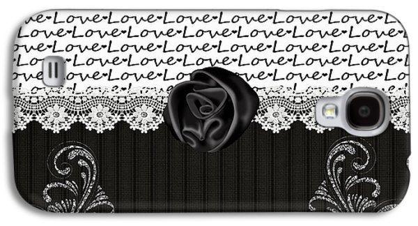 Sparkling Rose Galaxy S4 Cases -  Stylish Black Rose and Love Galaxy S4 Case by Debra  Miller