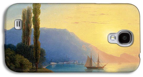 Water Vessels Paintings Galaxy S4 Cases -  Sunset over Yalta Galaxy S4 Case by Ivan Konstantinovich Aivazovsky