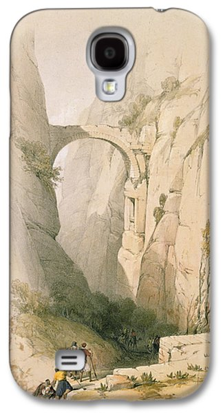 Petra Galaxy S4 Cases -  Triumphal Arch crossing the Ravine leading to Petra Galaxy S4 Case by David Roberts