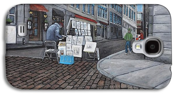 Montreal Streets Paintings Galaxy S4 Cases -  Vendeur Sur La Rue Vieux Montreal Galaxy S4 Case by Reb Frost