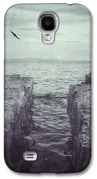 Nature Scene Digital Art Galaxy S4 Cases - Vermont Lake Champlain shoreline black and white Galaxy S4 Case by Andy Gimino