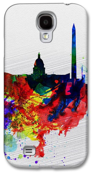 Capital Galaxy S4 Cases -  Washington DC Watercolor Skyline 1 Galaxy S4 Case by Naxart Studio