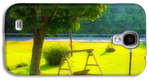 Empty Chairs Paintings Galaxy S4 Cases -  Wooden Swing In The Garden Galaxy S4 Case by Lanjee Chee