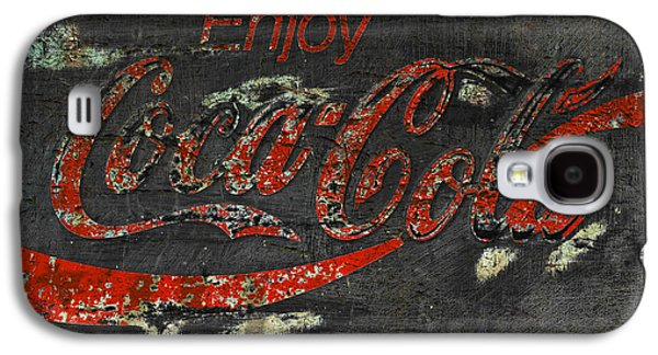 Coca-cola Signs Galaxy S4 Cases -  Coca Cola Sign Grungy  Galaxy S4 Case by John Stephens