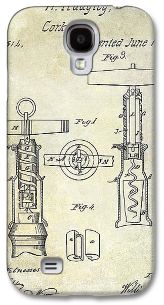 Napa Valley Vineyard Galaxy S4 Cases - 1862 Corkscrew Patent Drawing Galaxy S4 Case by Jon Neidert