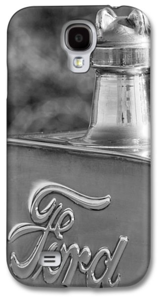 Ford Model T Car Galaxy S4 Cases - 1911 Ford Model T Torpedo 4 cylinder 25 HP Hood Ornament  Emblem Galaxy S4 Case by Jill Reger
