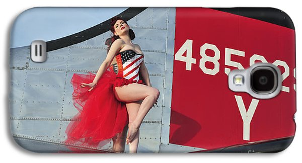 Strapless Dress Galaxy S4 Cases - 1940s Style Pin-up Girl Standing Galaxy S4 Case by Christian Kieffer