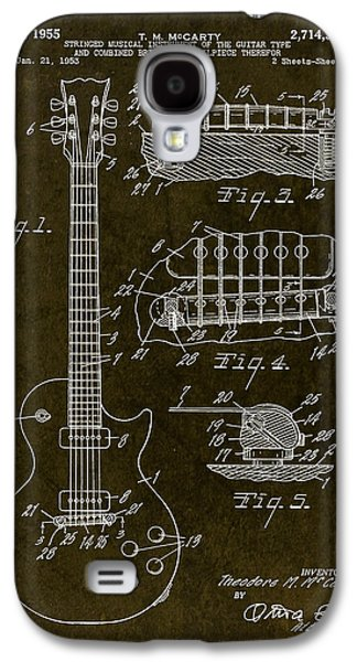 Rocks Drawings Galaxy S4 Cases - 1955 Gibson Les Paul Patent Drawing Galaxy S4 Case by Gary Bodnar